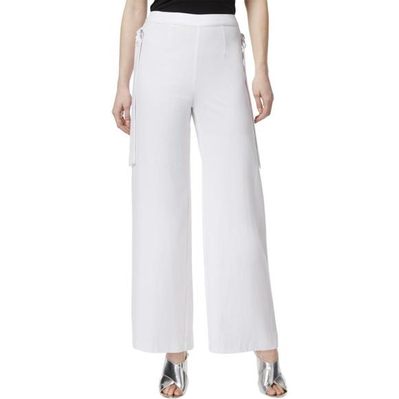 43b434574235 Women s White Side-Tie Wide-Leg Pants White. NWT